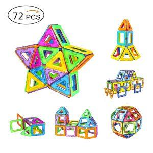 Amztronics Bloques Magnéticos De Construcciones, Piezas Magnéticas En 3D Bloques De Construccion Imantados,Inspira Set De Construcción Para Niños, Juguetes Creativos Y Educativos Con Bolsa, 72PCS