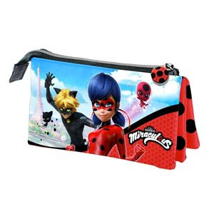 Lady Bug Miraculous- Ladybug Estuche Portatodo Triple, Color Rojo, 22 Cm (Karactermanía 32893)