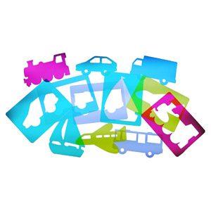 HenBea- Pack De 6 Pantallas Aprendizaje Transportes, 8 Mm, Varios Colores Traslúcidos (911)