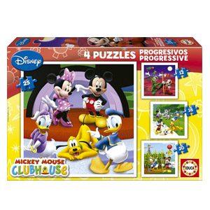 Educa 15288 La Casa De Mickey Mouse – Puzzle (4 Unidades, 12, 16, 20 Y 25 Piezas)