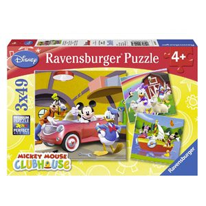 Ravensburger-9247 Mouse Mickey Puzzle Triple 3×49 Piezas, Color Azul, Rojo, 5+ (9247)