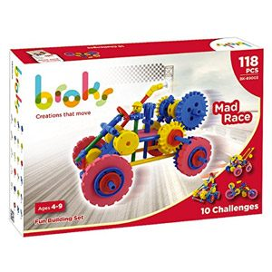 Broks Mad Race – Juego De Construcción Con 118 Piezas Encajables Incluidos Engranajes Niños Y Niñas De 4 A 9 Años