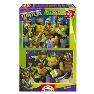 Puzzles Educa – Tortugas Ninja, 2 Puzzles X 100 Piezas (15687)