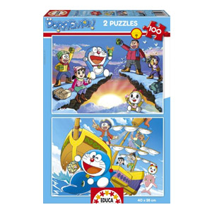 Puzzles Educa – Doraemon, 2 Puzzles X 100 Piezas (15634)