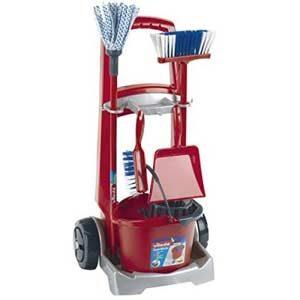 Theo Klein- Klein Cleaning Trolley Limpieza, Fregona, Cubo, Escoba Y Mucho Más, Diseño De Vileda, Medidas Del Carro: 29…