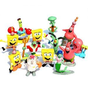 ONOGAL Bob Esponja Colección De 13 Personajes Figuras Spongebob Calamardo Patricio Señor Cangrejo Arenita Gari Mindy Sirena Y Rey Neptuno 4724