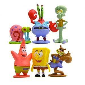 Colección De 6 Personajes Bob Esponja Calamardo Patricio Señor Cangrejo Arenita Y Gari Spongebob 6 Figuras BobEsponja…
