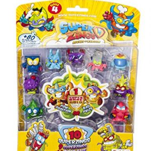 Superzings Serie 4 – Blister 10 Figuras (9 Figuras SuperZings + 1 Figura Dorada Super Rare), Modelos Surtidos